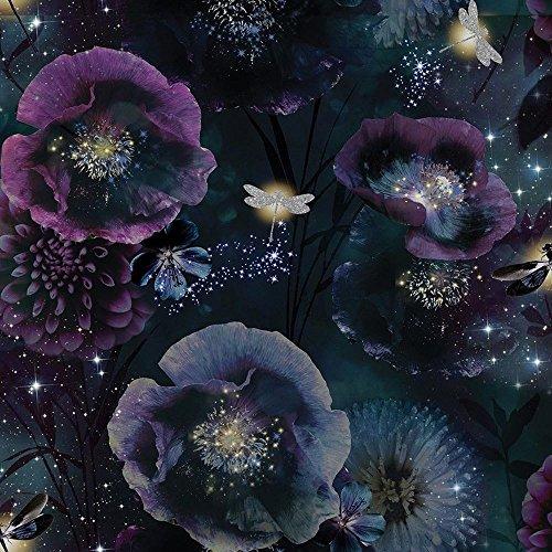 Arthouse 692301 Tapete Kollektion Fantasia, Nocturnal Purple/Teal, 10.05 x 0.53 m