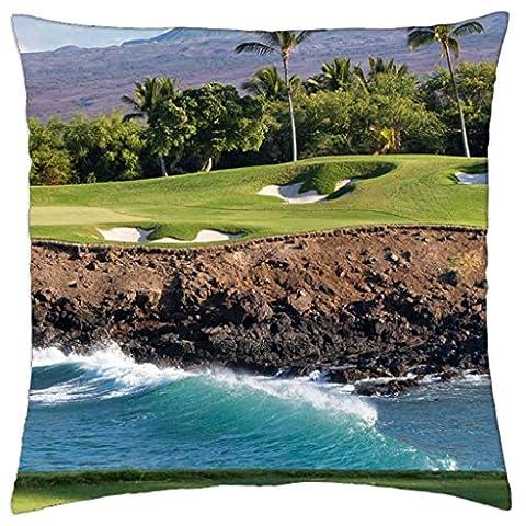 Hawaii Beach Golf Course - Throw Pillow Cover Case