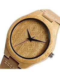 YISUYA Japón movimiento madera de bambú Relojes de pulsera Simple Dial Mens Reloj de madera de piel auténtica marrón