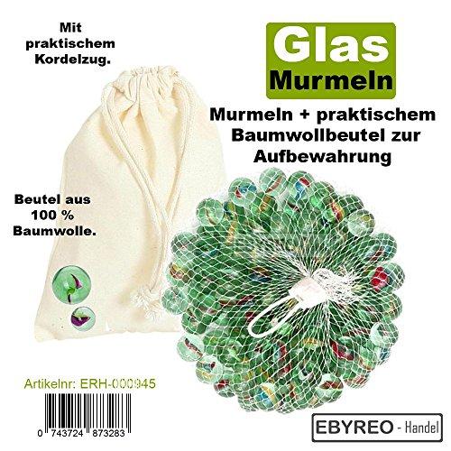 EbyReo® | Murmeln - Glasmurmeln im praktischem Baumwollbeutel zur Aufbewahrung | Glaskugeln zum Spielen oder als Dekoration | Murmelbahn