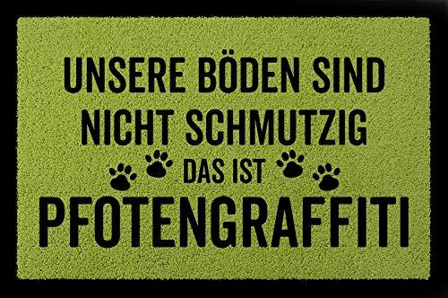 SCHMUTZMATTE Fußmatte PFOTENGRAFFITI Hund Tierisch Türmatte Geschenk Einzug Grün