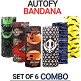Autofy Unisex Multipurpose Freesize Bandana Combo Lycra Headwrap Riding Hair Band Motorcycle Face Mask for Men and Women (Set of 6)