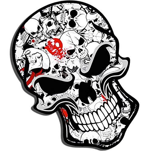 2 x Adesivi Vinile Stickers Skull Teschio Cool Per Auto Moto Finestrìno Porta Casco Scooter Bici Motociclo Tuning B 52