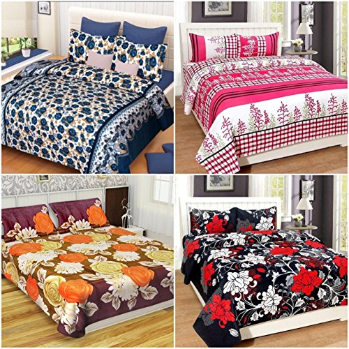 Akshya Super Home Combo Set Of 4 Glace Cotton Double Bedsheet With...