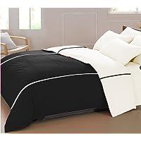 "AURAVE Mercerised Cotton 220 TC Duvet Cover (90""x100""_Black & White)"