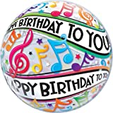 Happy Birthday To You Music Notes, 22 inch Single Bubble Balloon