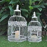 Gardensity ® Set Of 2 XL Hexagon Bird Cage Vintage Victorian Style Outdoor Indoor Garden White Shabby-Chic Rustic Look Hexagon Bird Cages Planters Tea light Holder Model (5849BIRD726130)