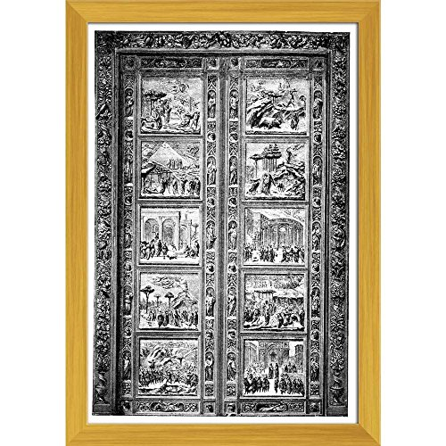 Pitaara Box 19Th Century Door Engraving at Duomo Florence Italy Canvas Painting Golden Frame 14 X 20.3Inch - 19th Century Engraving