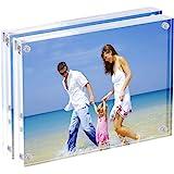 Marcos de fotos acrílicas 15 x 20 cm, Marco de bloque de acrílico magnético, Pantalla de fotografía sin marco de escritorio -