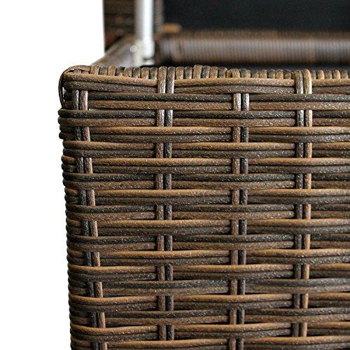 WOHAGA® Gartenbox Auflagenbox Kissenbox Gartentruhe Aufbewahrungsbox Aufbewahrungskiste Kissentruhe – Rollbar, Gasdruckfeder, 134x56xH65cm, Poly Rattan, Braun - 5