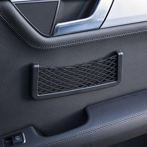 Price comparison product image Car Storage Net Pocket - Smartphone Holder & Organiser - In Car Universal Mesh Design - Cargo Net - 3M Adhesive - Black