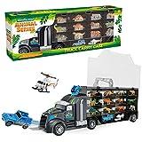 Mymiyou Dinosaurio gigante del juguete del carro del transporte y coche salvaje del portador del safari de la vida salvaje