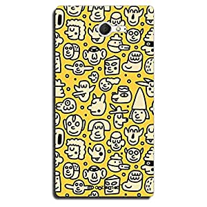 Mozine Faces Pattern Printed Mobile Back Cover For Sony Xperia M2