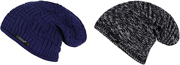 Noise Combo of Blue Cross Knitted and Black-White Textured Winter Beanie Cap