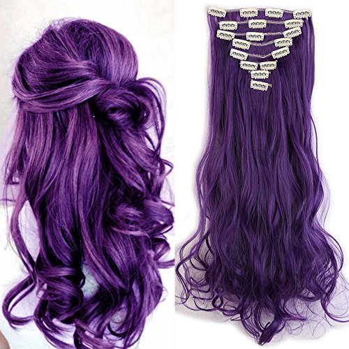 Extension clip capelli viola sintetici mossi lunghi 24 pollici 60cm full head hair extension 8 ciocche