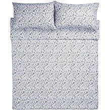 AmazonBasics - Microfibre Duvet Cover Set - 230 x 220 cm, King - Blue Floral