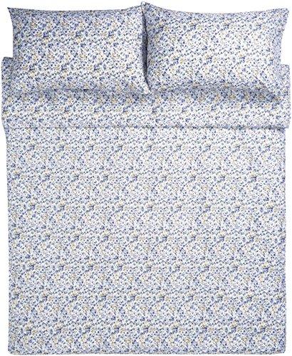 AmazonBasics - Bettwäsche-Set, Mikrofaser, 260 x 220 cm - Blau mit blumenmuster