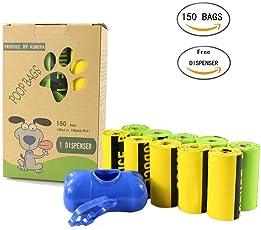 Kumoya Dog Poop sacchetti biodegradabili earth-friendly Dog sacchetti di rifiuti con dispenser e clip per guinzaglio i extra large, extra spesso, a prova di perdite