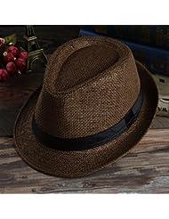 Les hommes d'été Beach Sun Hat Fedora Trilby Panama paille large bord plage Cap