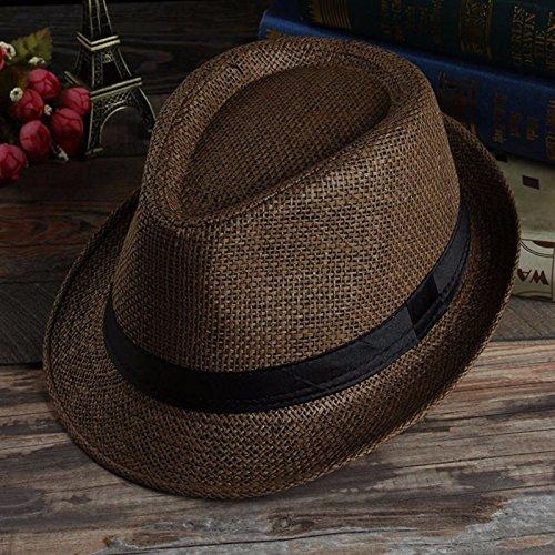 Sommer Herren Beach Trilby Fedora Sonnenhut mit breiter Krempe Stroh Panama Strand Cap, (Kostüm Coffee John)