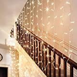 Ollny Led Curtain Window Icicle Decorative Lights Fairy String Lights for Wedding Christmas Party Backdrops Home Outdoor Decorations 9.8ft x 9.8ft 300 LEDs 8 modes Warm White