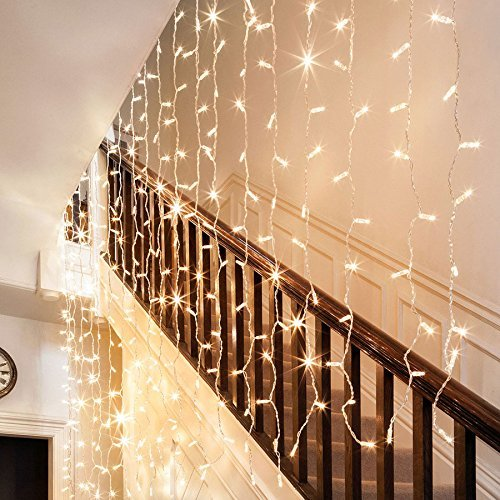 Ollny Black Friday Great Price Ollny 9.8ft x 9.8ft 300 LEDs Window Curtain Icicle Lights Fairy String Lights 8 modes for Wedding Christmas Outdoor Home Decorations Warm White