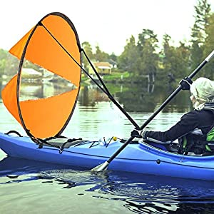 "61QhjfoiNsL. SS300  - AZX Large 42"" Kayak Wind Sail Paddle Portable Canoes Popup Downwind Sail Kit Kayak Accessories For Inflatable Boats Kayaks Canoes"