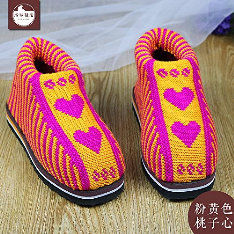 laxba femmes hommes hommes hommes hiver chaud des pantoufles chaussures antidérapantes pantoufle de coton rembourrés intérieur rose (peach coeur) 40 / 41...b077wdyj4w parent beec6a