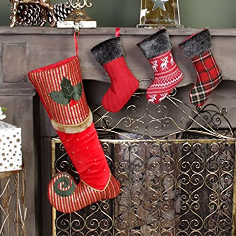 Luxury Christmas Stocking Set - Berry Red, Green & Gold Striped Velvet Striped Elf's Missing Shoe Stocking With Holly, Fur & Bead Decoration, H47 x W22 cm & Set of 3 Mini Handmade Stockings in Cable Knit, Tartan & Reindeer Designs, H22 cm - Full of Character and Perfect for the Festive Season!
