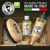 Brosse à barbe, huile barbe 100 ml, savon detergènt 250ml. Soins de la barbe. 100% made in Italy.