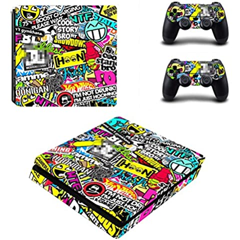 DOTBUY Ps4 Slim Playstation 4 Slim Consola Design Foils Vinyl Skin Sticker Decal Pegatina And 2 Dualshock Controlador Skins Set (Graffiti