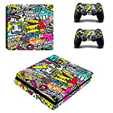 DOTBUY PS4 Slim Vinyl Decal Full Body Skin Sticker For Sony Playstation 4 Slim Console And 2 Dualshock Controllers (Graffiti Art)