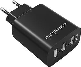 RAVPower Caricatore USB da Muro a 3 Porte (30W, 5V/6A), con Output Massima fino a 2.4A, Compatto per iPhone, iPad, Huawei, Samsung Galaxy, Tablet e Altri Dispositivi USB (Nero)