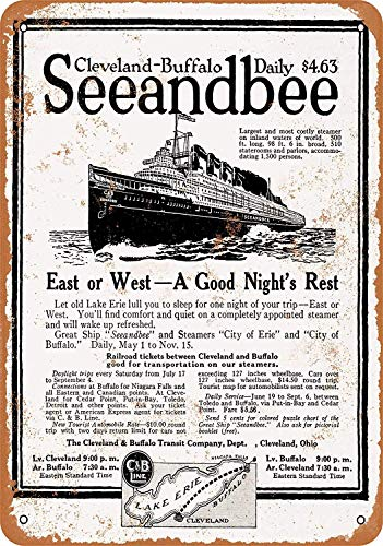 OURTrade 8 x 12 Metal Sign - 1920 Cleveland to Buffalo Seeandbee Steamers - Vintage Look -
