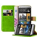 Cadorabo Hülle für HTC ONE M7 - Hülle in Gras GRÜN – Handyhülle im Luxury Design mit Kartenfach und Standfunktion - Case Cover Schutzhülle Etui Tasche Book