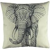 "Luxbon Funda Cojin Almohada Lino Duradero Pintura de Elefante Rayado Negro India Decoración para Sofá Cama Coche 18x18"" 45x45 cm"