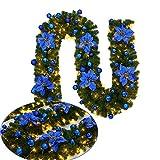 Tatis Zuhause Dekoration Szene Layout Tür hängenden Weihnachts-Verschlüsselung mit Licht String Rattan LED-Baum-hängende Verzierung Rattan-Bunte Dekoration für Weihnachtsfest 2.7m