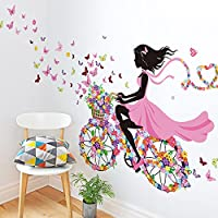 Indexp Sweet Romance Angel Butterfly Flower Fairy Princess Harmony Bedroom Living Room Walls Stickers(23.62x35.43inches)