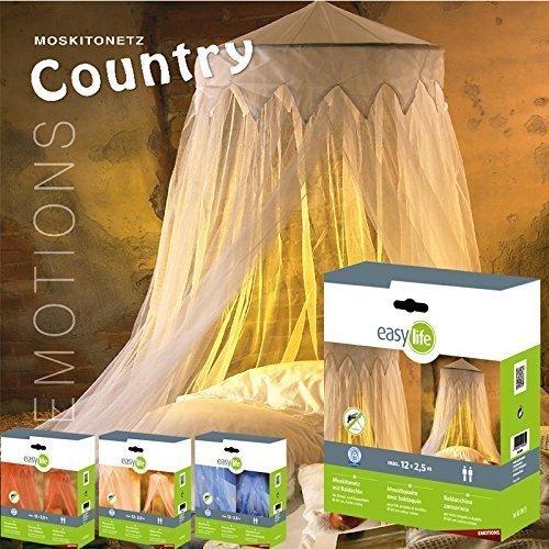 Preisvergleich Produktbild Moskitonetz: Fliegennetz Country mit Baldachin,  Fliegengitter in Weiß,  2, 5 x 12m,  dekorativer Betthimmel