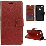 Google Pixel XL (2016) Case,[ Shock Absorbent ] Leather Cover PU Leather Kickstand Wallet Cover Durable Flip Case Compatible With Google Pixel XL (2016) Brown