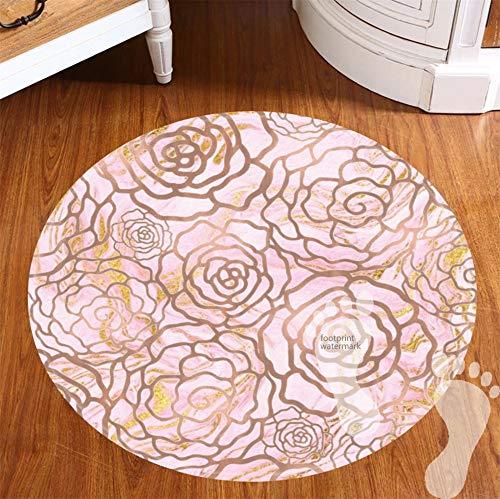 fivetwo 2 Stück runde Badteppiche und Matten rutschfest saugfähig Bad Küche Läufer Fußmatte Teppich Pink Gold Weiß Marmor Rose Gold Weiß Floral Mandala - Füße Runde Gold Teppich