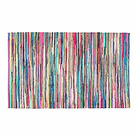 Homescapes - 100% Recycled Cotton Chindi Rug Multi Coloured Stripes