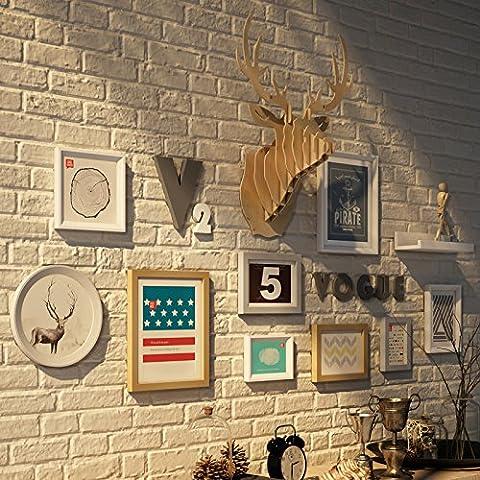 XKDHC® Foto marco pared estantes living comedor foto madera minimalista modernos marco colgante de pared ciervos foto creativa cabeza pared , 2