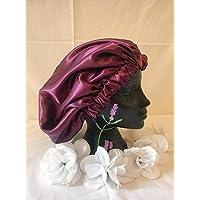 MAA SHOPPING Handmade Fully Reversible Luxuries Pure Satin Hair Bonnet satin sleep cap (BERGNDY)