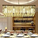 CWJ Deckenleuchter-Rechteckige Kristall Restaurant Kronleuchter Kristalllampe,Tricolour-60 * 25 cm
