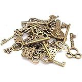 PULABO Mixte Pack de 40 clés Vintage Antique Bronze Charms clé ensemble pour la fabrication de bijoux de bricolage Utilisatio