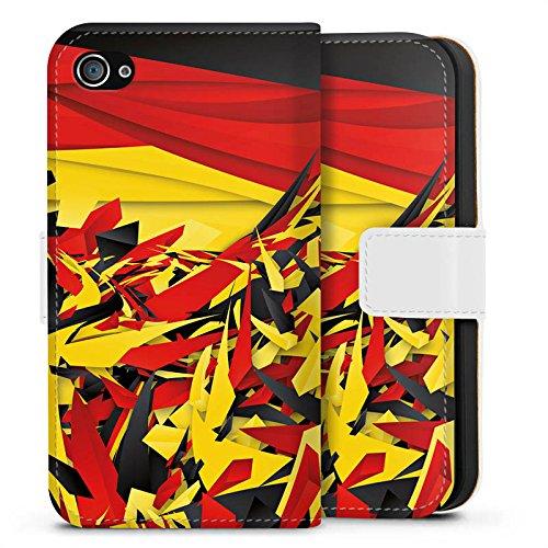 Apple iPhone X Silikon Hülle Case Schutzhülle Deutschland Flagge Muster Sideflip Tasche weiß