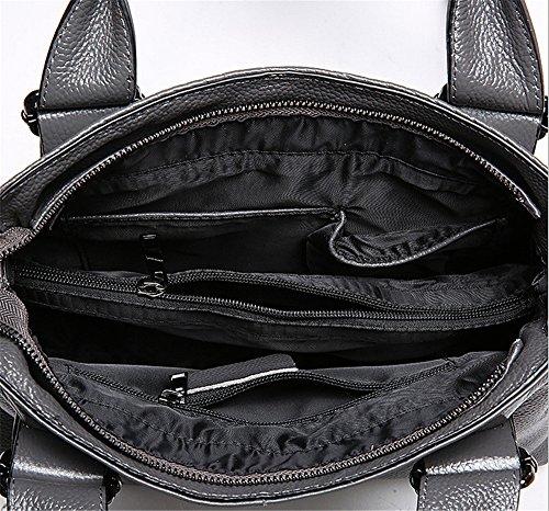 Xinmaoyuan Borse donna in pelle di vacchetta Borsetta tracolla messenger bag modello coccodrillo Borsa femmina Grigio
