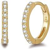 Orecchini a Cerchio Donna in Argento Sterling 925 Placcato Oro con Zirconia Cubica Creoli Sleeper - Diametro 11 mm