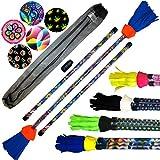 ART-Deco Flowerstick Set (5 Einzigartig Designs) inkl. Handstäbe mit 2 mm Ultra-Grip Silikon! Super Cool Flower Sticks Lunastix für Anfänger und Profis. (Spectrum)
